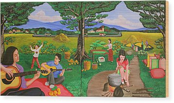 Wood Print featuring the painting Picnic With The Farmers And Playing Melodies Under The Shade Of Trees by Lorna Maza