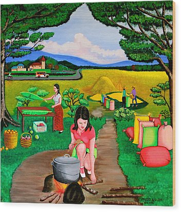 Wood Print featuring the painting Picnic With The Farmers by Lorna Maza