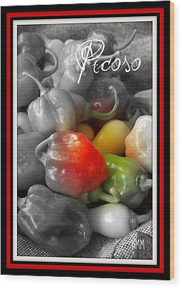 Picoso Peppers Wood Print by Heidi Manly