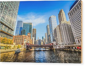 Picture Of Chicago At Lasalle Street Bridge Wood Print by Paul Velgos