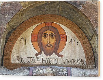 Picture Of Jesus Inside The Tsminda Sameba Cathedral Tbilisi Wood Print by Robert Preston
