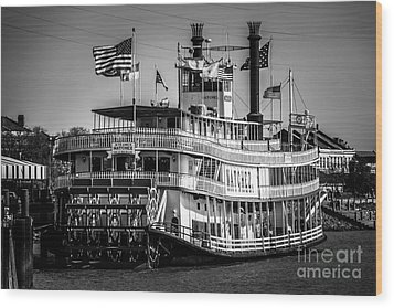 Picture Of Natchez Steamboat In New Orleans Wood Print by Paul Velgos