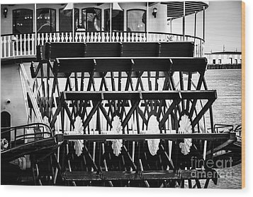 Picture Of Natchez Steamboat Paddle Wheel In New Orleans Wood Print by Paul Velgos