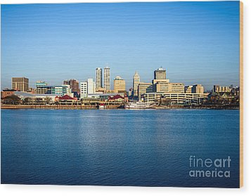 Picture Of Peoria Illinois Skyline Wood Print by Paul Velgos