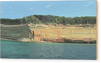 Pictured Rocks Sunlight And Shadows Panorama Wood Print