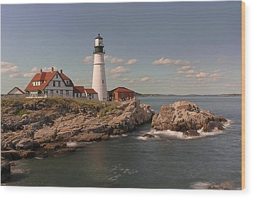 Picturesque Portland Head Light Wood Print by Juergen Roth