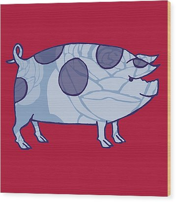 Piddle Valley Pig Wood Print by Sarah Hough
