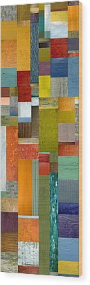Pieces Parts Lll Wood Print by Michelle Calkins
