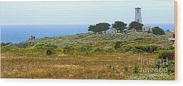 Piedras Blancas Lighthouse Near San Simeon And Cambria Along Hwy 1 In California Wood Print by Artist and Photographer Laura Wrede