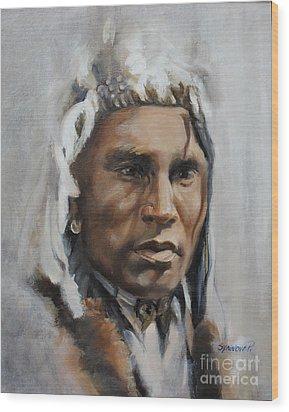 Piegan Warrior Portrait Wood Print