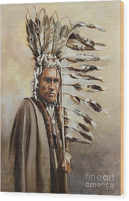 Piegan Warrior With Coup Stick Wood Print
