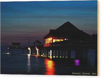 Wood Print featuring the photograph Pier 60 In After Glow by Richard Zentner