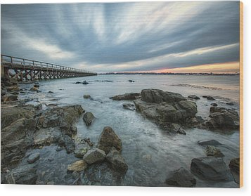 Pier At Dusk Wood Print by Eric Gendron