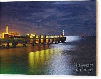 Pier At Night Wood Print by Carlos Caetano