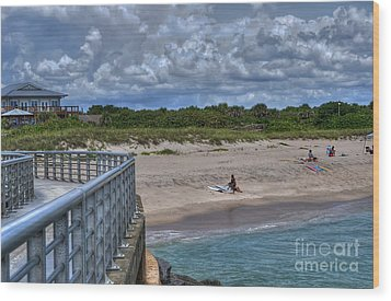 Pier At Sebastian Inlet Wood Print