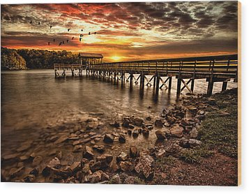 Pier At Smith Mountain Lake Wood Print by Joshua Minso
