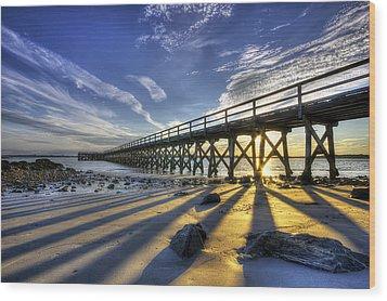 Pier At Sunset Wood Print