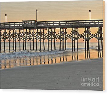 Pier At Sunset Wood Print by Eve Spring