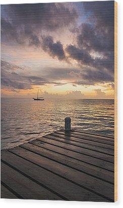 Pier At Sunset Vertical  Wood Print