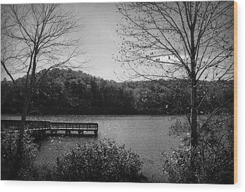 Pier At Table Rock In Black And White Wood Print