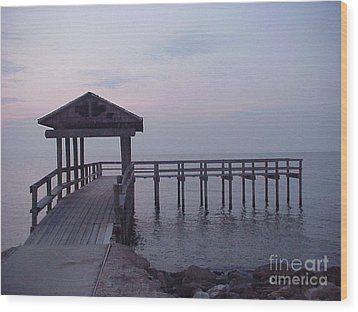 Pier Early Morning 1 Wood Print by D Wallace