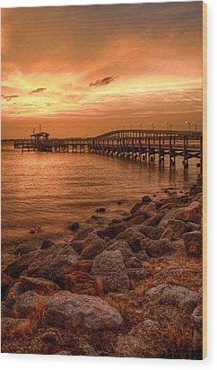 Pier In The Ocean Wood Print