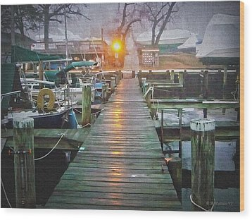 Pier Light - Oil Paint Effect Wood Print by Brian Wallace