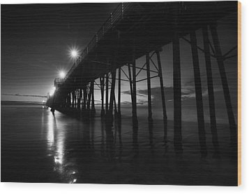 Pier Lights - Black And White Wood Print by Peter Tellone