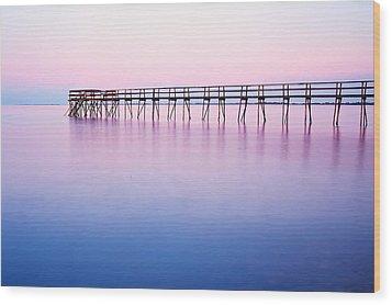 Pier On Lake Winnipeg Wood Print by Ken Gillespie