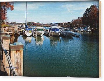 Pier Pressure - Lake Norman Wood Print by Paulette B Wright