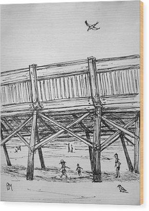 Pier Pressure Wood Print by Pete Maier