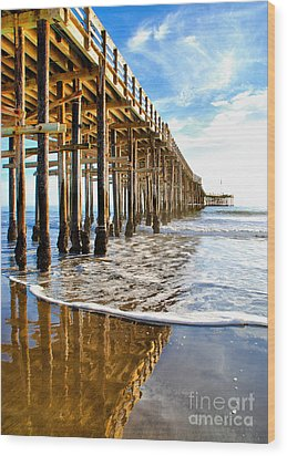 Pier Reflection Wood Print