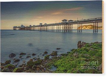 Pier Seascape Wood Print by Adrian Evans
