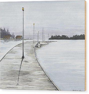 Pier Solitude Wood Print by Dan Haley