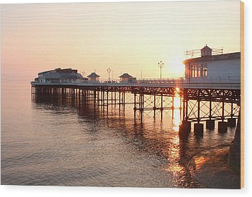 Pier Sunrise  Wood Print
