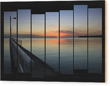 Pier View Sunset Wood Print