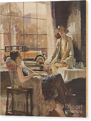 Pierce-arrow 1920s Usa Cc Drinking Tea Wood Print by The Advertising Archives