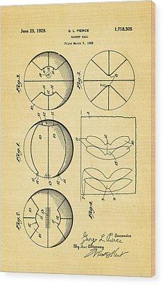 Pierce Basketball Patent Art 1929 Wood Print by Ian Monk