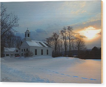Piermont Church In Winter Light Wood Print