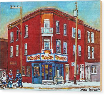 Pierrette Patates Restaurant - Paintings Of Verdun - Verdun Winter Scenes -verdun Hockey Scenes Wood Print by Carole Spandau