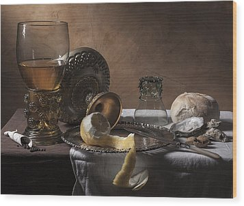 Pieter Claesz- Breakfast Piece Wood Print by Levin Rodriguez