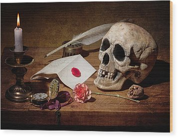 Vanitas With Skull-writting Utensils-watch And Anemone Wood Print by Levin Rodriguez