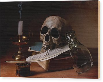 Wood Print featuring the photograph Vanitas With Snuffed Candle And Writing Utensils by Levin Rodriguez