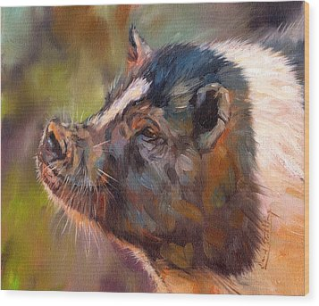 Pig Wood Print by David Stribbling