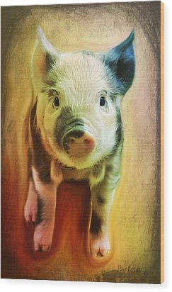 Pig Is Beautiful Wood Print by Barbara Orenya