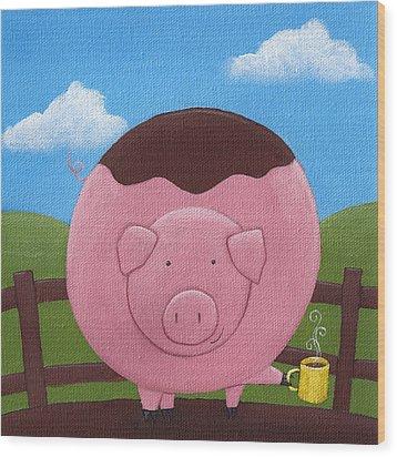 Pig Nursery Art Wood Print by Christy Beckwith
