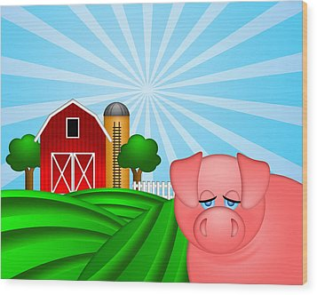 Pig On Green Pasture With Red Barn With Grain Silo  Wood Print by Jit Lim