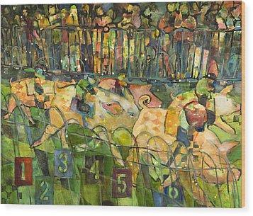 Pig Racing In Belturbet Ireland Wood Print by Jen Norton