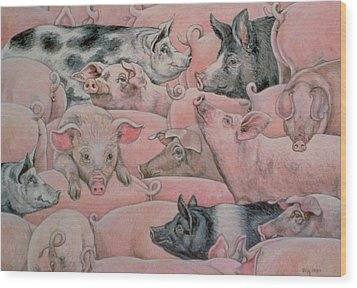 Pig Spread Wood Print by Ditz