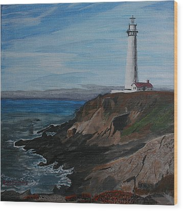 Pigeon Lighthouse Daytime Titrad Wood Print by Ian Donley